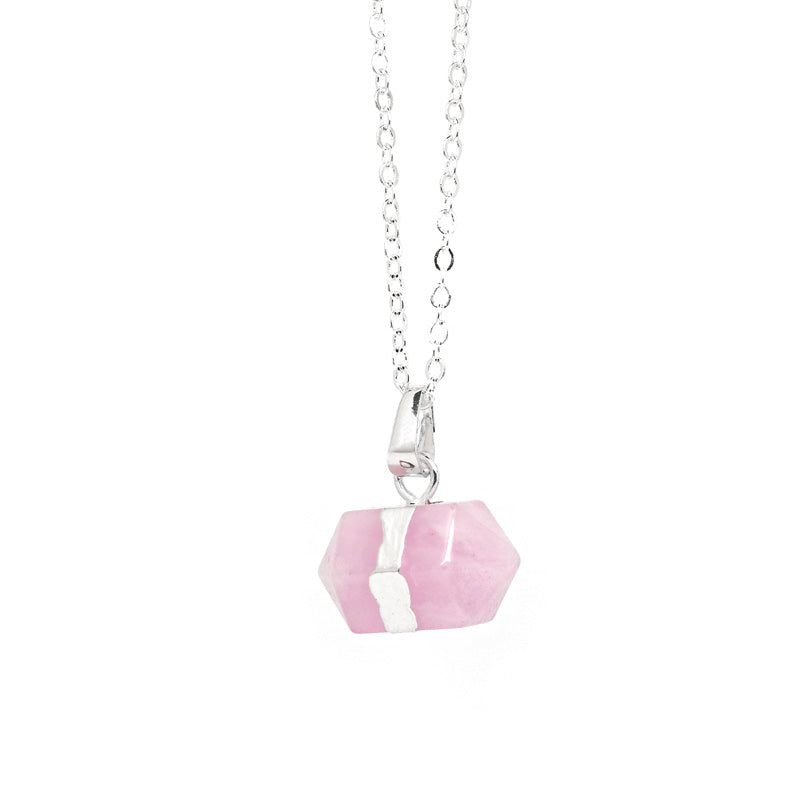 Raw Rose Quartz Crystal Point Necklace