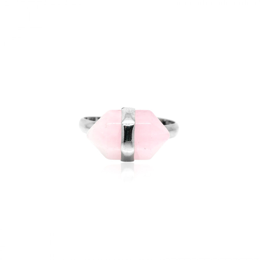 Raw Rose Quartz Nugget Ring