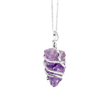 Wrapped Raw Amethyst Necklace