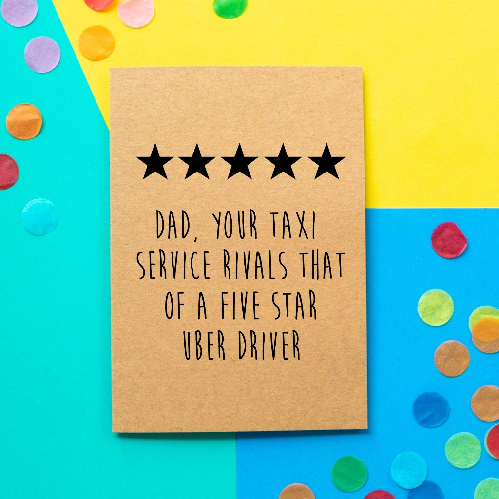 Funny Father's Day Card | Five Star Uber-Bettie Confetti