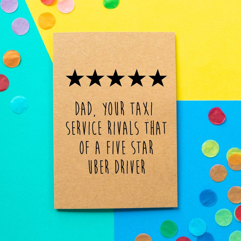 Funny Father's Day Card | Five Star Uber - Bettie Confetti