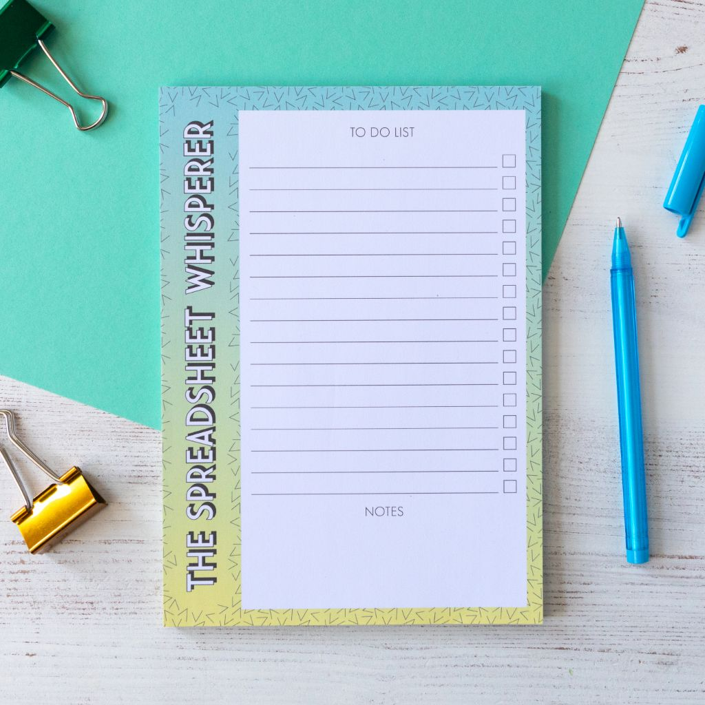 Spreadsheet Whisperer Accountant Notepad | A5 Notepad to do list