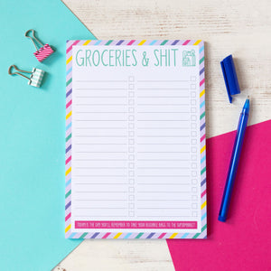 Groceries & Shit Notepad | A5 Notepad to do list