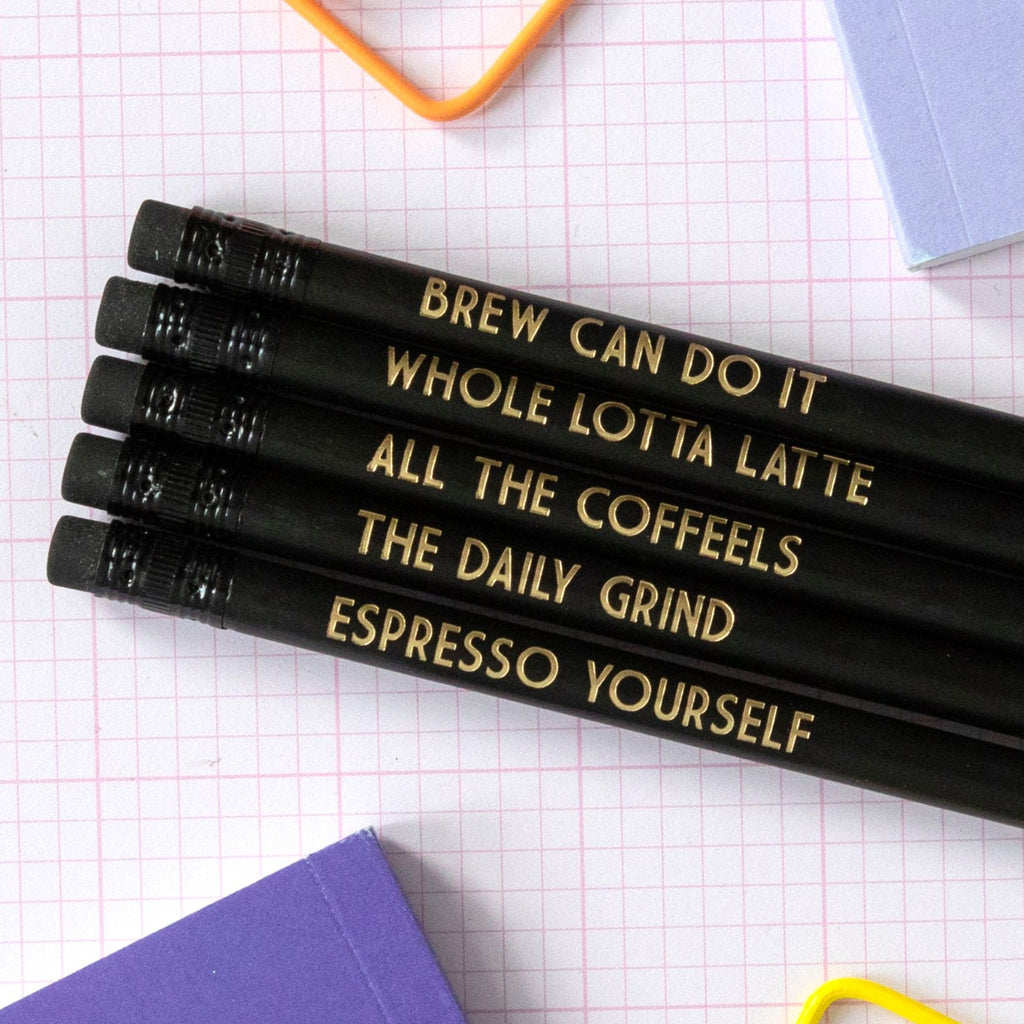 Coffee Lover Pencil Set | All The Coffeels - Bettie Confetti