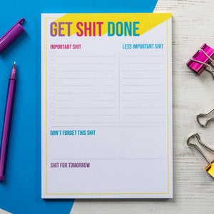 Get Shit Done Rainbow Notepad | A5 Notepad to do list - Bettie Confetti