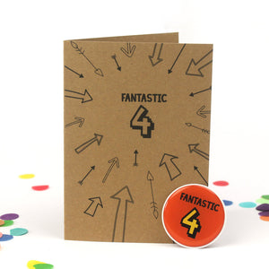 4th Birthday Sticker Card | Fantastic Four - Bettie Confetti