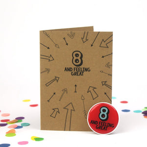 8th Birthday Sticker Card | Eight And Feeling Great - Bettie Confetti