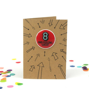 8th Birthday Sticker Card | Eight And Feeling Great-Bettie Confetti