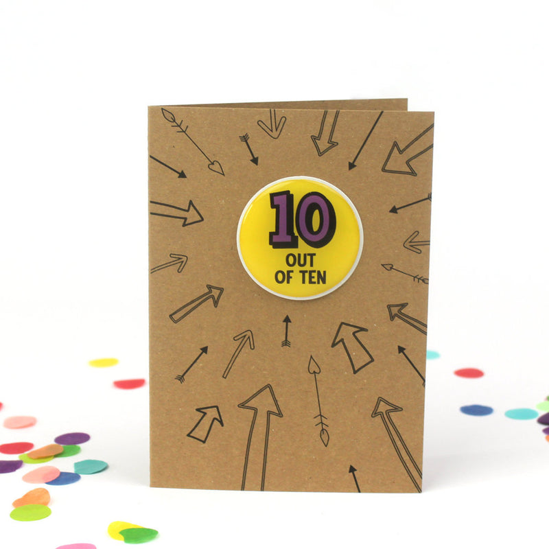 10th Birthday Sticker Card | Ten Out Of Ten - Bettie Confetti