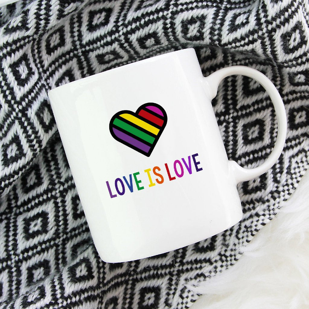 Rainbow mug, Love is love mug, cute rainbow mug, gay lesbian mug, cute rainbow mug-Bettie Confetti