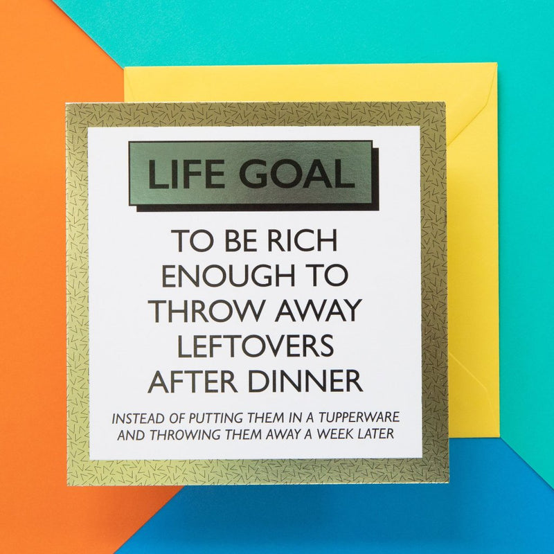 Funny Card | Leftover Life Goals - Bettie Confetti