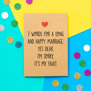 Funny Wedding Card | 7 Words For A Long And Happy Marriage - Bettie Confetti