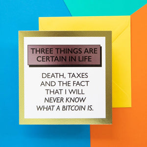 Funny Card | Death Taxes Bitcoin-Bettie Confetti