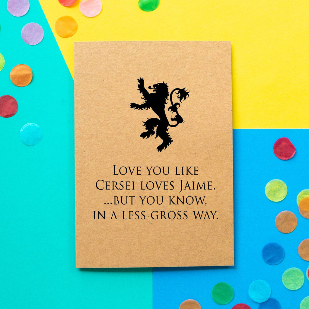 Funny Game Of Thrones Valentines Card | Love You Like Cersei Love Jaime - Bettie Confetti