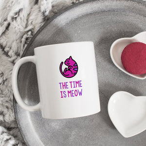 Funny Cat Mug | The Time Is Meow - Bettie Confetti