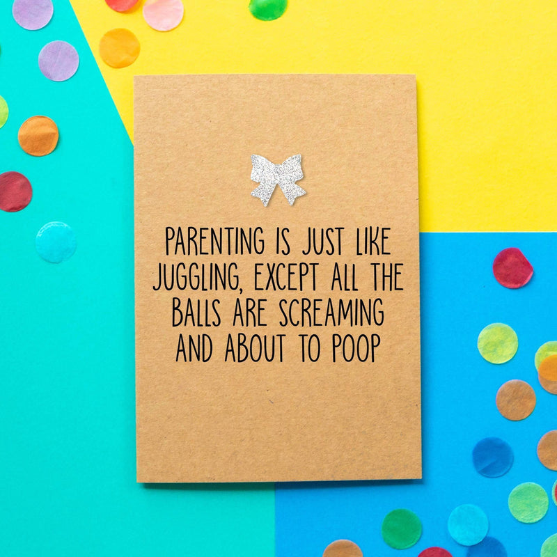 Funny New Baby Card | Parenting Is Like Juggling - Bettie Confetti