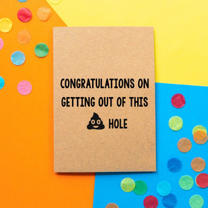Funny new job card | Congratulations on getting out of this shit hole. - Bettie Confetti