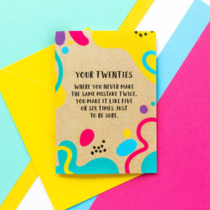 Funny 20th Birthday Card: Same Mistake Twice - Bettie Confetti