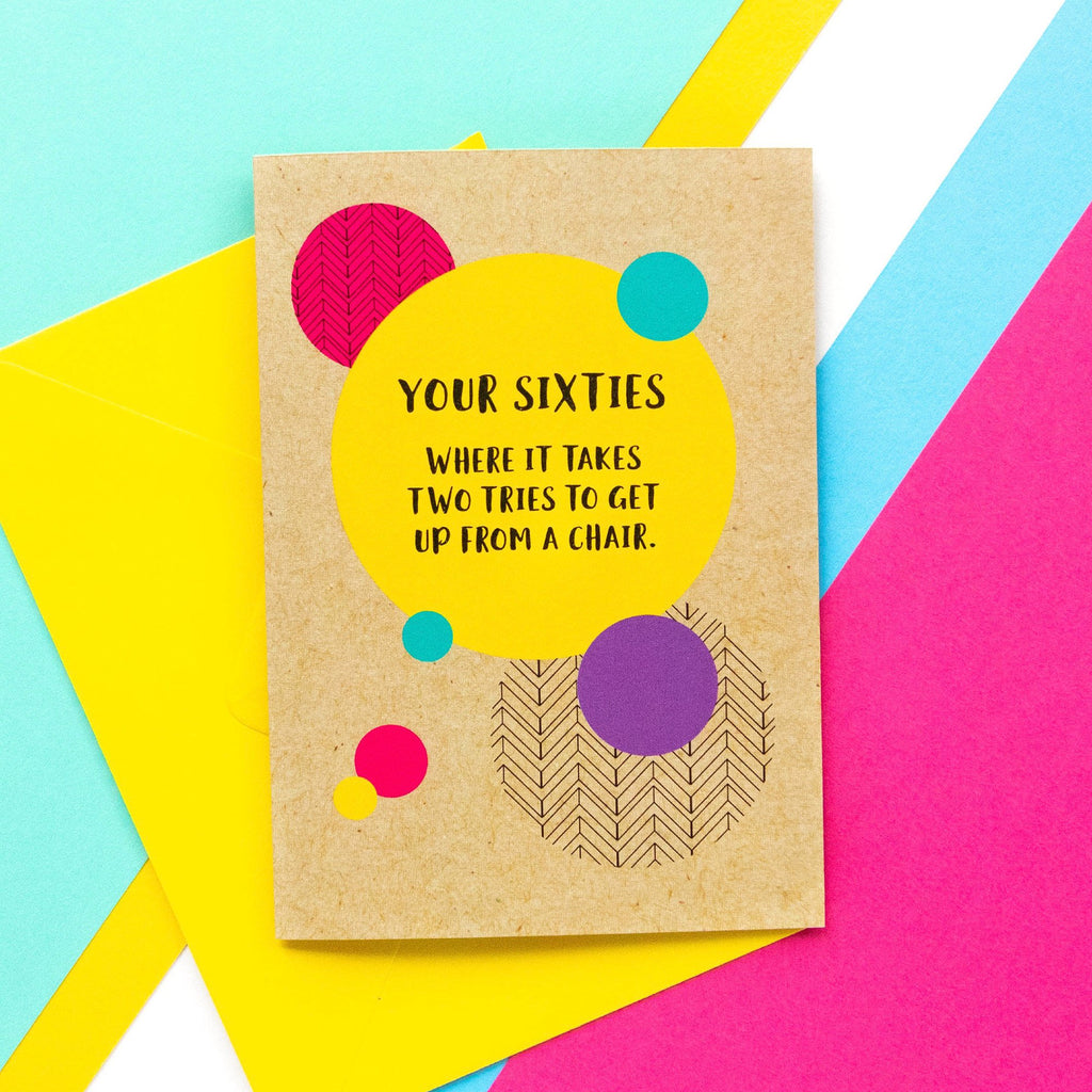 Funny 60th Birthday Card: Two Tries To Get Up-Bettie Confetti