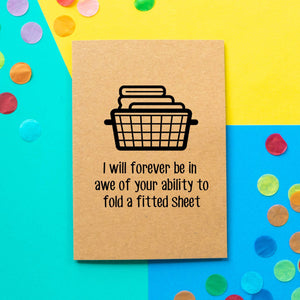 Funny Mother's Day Card | I will forever be in awe of your ability to fold a fitted sheet-Bettie Confetti