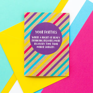 Funny 40th Birthday Card: Hangover Recovery - Bettie Confetti