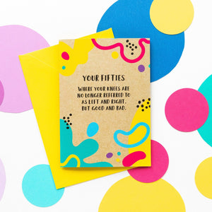 Funny 50th Birthday Card: Good Knee Bad Knee-Bettie Confetti