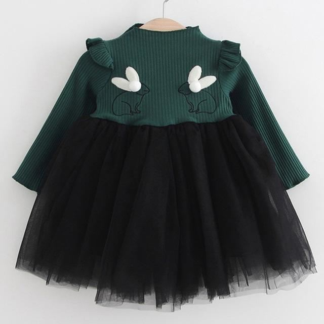 c3d0c31aa566 2018 New Brand Baby Dresses Long Sleeve Rabbit embroidery Party Prom ...
