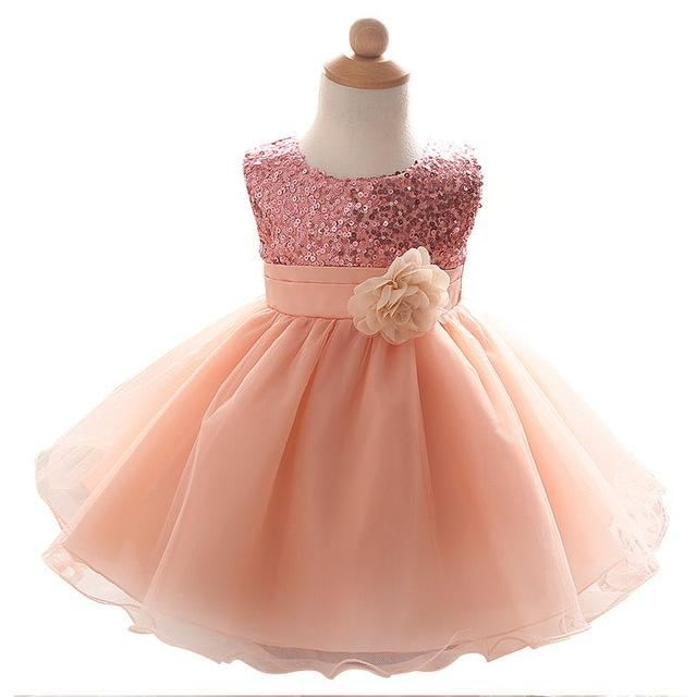 6a667a6999424 Baby Frock Designs Lace Christening Gown Gold Bow Girl 1 Year First  Birthday Outfit Toddler Infant
