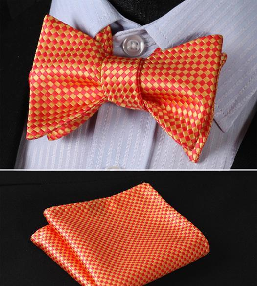Orange Checkerboard Bow Tie & Handkerchief Set