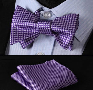 Purple Checkerboard Bow Tie & Handkerchief Set