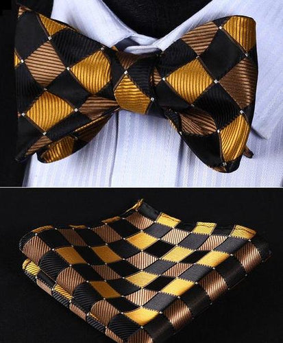 Black & Gold Check Classic Bow Tie & Handkerchief Set