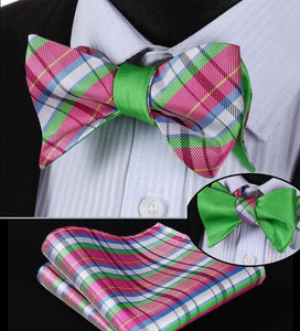 Summer Plaid/Lime Reversible Bow Tie & Handkerchief Set