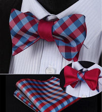 Load image into Gallery viewer, Navy & Red Plaid/Classic Black Reversible Bow Tie & Handkerchief Set