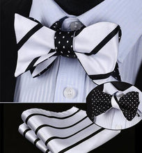 Load image into Gallery viewer, Black & White Stripe/Mini Polka Dot Reversible Bow Tie & Handkerchief Set