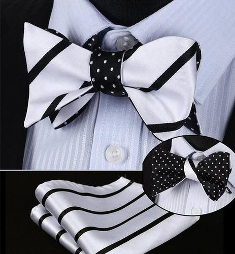 Black & White Stripe/Mini Polka Dot Reversible Bow Tie & Handkerchief Set