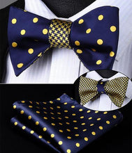 Load image into Gallery viewer, Navy & Gold Hounds Tooth/Polka Dot Reversible Bow Tie & Handkerchief Set