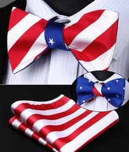 Load image into Gallery viewer, Stars/Stripes Reversible Bow Tie & Handkerchief Set
