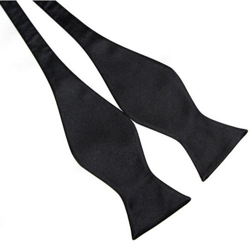 Black Pure Silk Bow Tie
