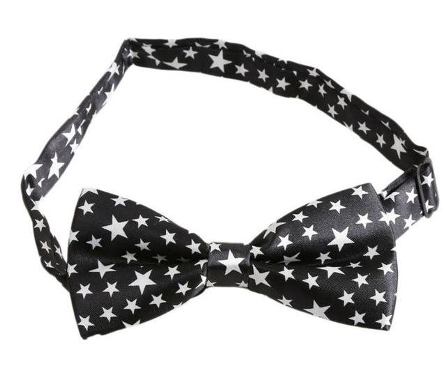 Black & White Stars Bow Tie