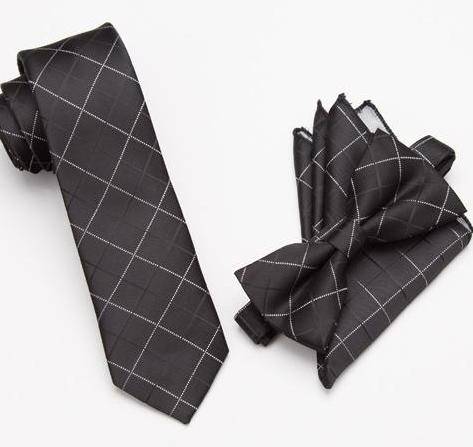 Black & Silver Plaid Bow Tie Set