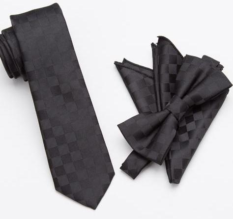 Black Checkerboard Bow Tie Set