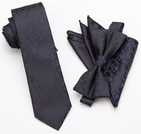 Black & Cobalt Brocade Bow Tie Set
