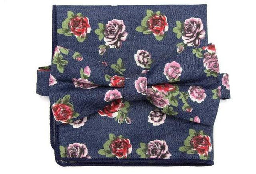 Rose Patterned Denim Bow Tie