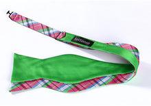 Load image into Gallery viewer, Summer Plaid/Lime Reversible Bow Tie & Handkerchief Set