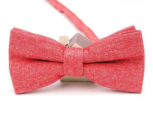 Washed Red Linen Bow Tie