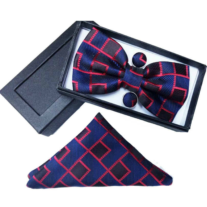 Navy & Red Geometric Bow Tie Set
