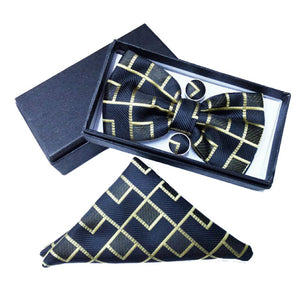 Black & Gold Geometric Bow Tie Set