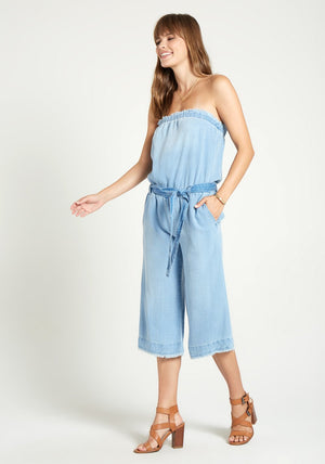 Strapless Frayed Jumpsuit in Clearwater