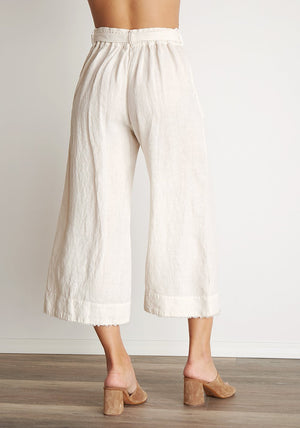 Belted High Waist Crop Pant in Flax