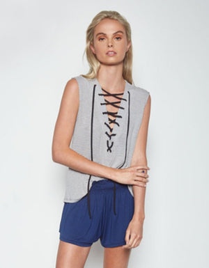 Kylo Lace Up Stripe Tank in Charcoal
